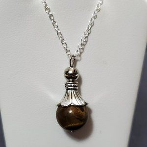 s925 Natural Tiger Eye Healing Stone Necklace